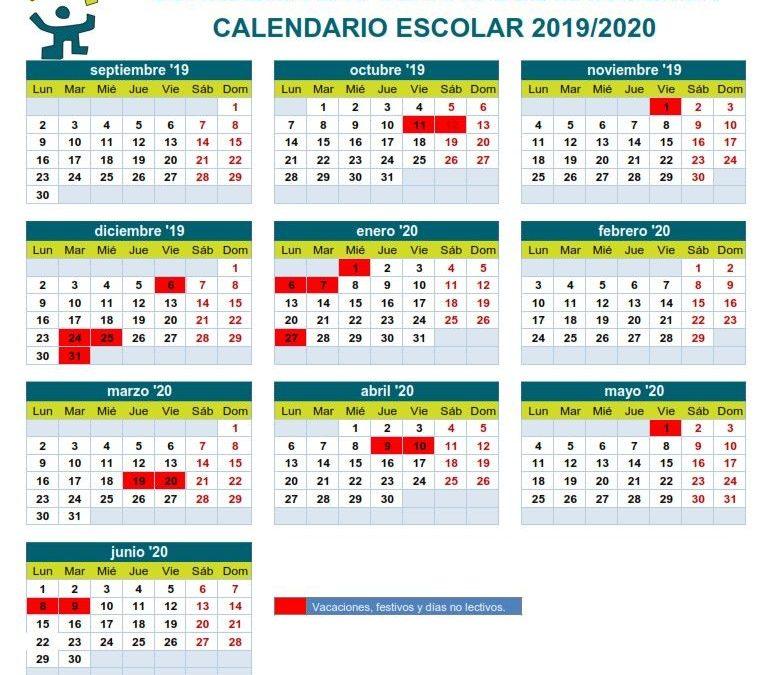 🔔🔔🔔👼👼👼 GUARDERÍA LAS CLARAS CALENDARIO 2019-2020 En semana santa y navidad el horario de guardería será de 7:45 a 13:30 horas y no habrá servicio de comedor.